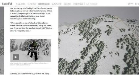 """Capitolo """"Descent Begins"""": facendo scorrere il testo che racconta la discesa degli sciatori, nel grafico a destra si segue, allo stesso ritmo, il percorso effettuato. Il testo stesso è intercalato dai video dei protagonisti."""